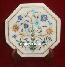 White Marble Inlay Octagonal Plate, Marble Inlay Handmade Home Decorative Plate