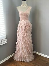 $598 BCBG Pink Blush 1 Shoulder Sweetheart Ruffled Gown Prom Dress 0 2 4 XXS XS