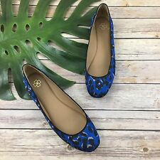 Ann Taylor Ballet Flats Size 9 Blue Leopard Print Leather Sole Office Round Toe
