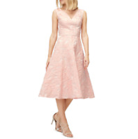 Jacques Vert Peachy Pink Jacquard Fit and Flare Full Skirt Summer Ocassion Dress