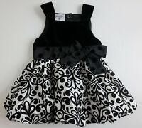 Mud Pie Baby Girls Size 9-12 Months Black White Bubble Party Dress Velour Velvet