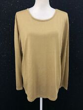 Lauren Ralph Lauren Womens Sz 2X Holiday Metallic Gold Boat Neck Knit Top NWT