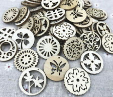 50pcs Wooden Pendant Mixed Hollow Wood color scrapbooking decoration Crafts
