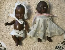"""Two antique composition black african american dolls appx 9"""""""