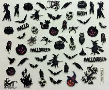Halloween 3D Nail Art Stickers Decoration Witch Spider Bat Pumpkin Skull (Y140)