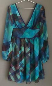 AMORETTE 'Cisco Disco' Long Sleeve Multicoloured Mini Dress Size 8