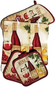 5 Piece Italian Tuscan Wine Kitchen Towel Set with Oven Mitt & Pot Holder