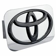 "Toyota Black and Chrome Stainless Steel 1.25"" Trailer Tow Hitch Plug Cover"