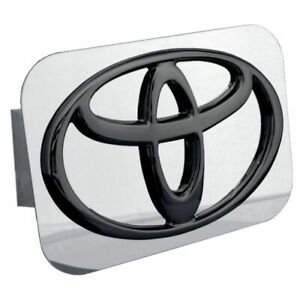 """Toyota Black and Chrome Stainless Steel 1.25"""" Trailer Tow Hitch Plug Cover"""