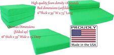 Twin Size Lime Trifold Foam Bed, 6 x 39 x 75 Folding Mattress, 1.8 lb Density