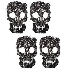 4PCS Skull Wedding Lace Trim Cloth Gothic Embroidery Bridal Dress Applique