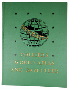 Vintage 1947 Collier's World ATLAS and Gazetteer P.F. Collier Book Maps Big Book