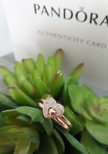 Beautiful Authentic pandora rose gold sparkling set 2 hearts ring ALE R Size 52