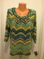 Caribbean Joe island supply womens petite L  large geometric green