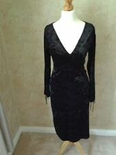 VINTAGE Velvet 80 S Wiggle Abito SEXY Nero Aderente a Clessidra Bombshell GLAMOUR