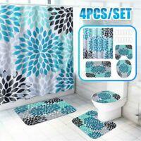 Duschvorhang Haken Badezimmer Toilette Deckel Boden Matte Set Polyester 180cm