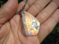 925 Silver Old Roman Glass Ruby Turquoise Pendant Necklace Afghanistan A120