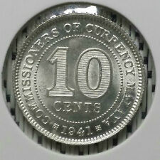 *SUPERB Grade* 1941 - Malaya - 10 Cents George VI Silver #CIR