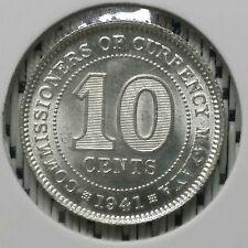 *SUPERB Grade* 1941 - Malaya - 10 Cents George VI Silver #CIR