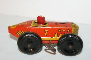 Vintage~MARX~Race Car~RED YELLOW~Wind Up~TOY CAR~Lithograph~with KEY~#7~w/Racer