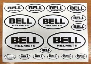 BELL HELMET STICKER SET - 17 BLACK & WHITE STICKERS/DECALS - Helmet - Motorcycle