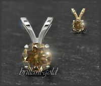 Diamant 585 Gold Anhänger, Cognac Champagner Brillanten 3-5mm/ 0,10-0,50ct