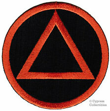 ALCOHOLICS ANONYMOUS iron-on EMBROIDERED PATCH AA black orange SOBRIETY LOGO