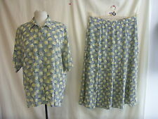 Ladies Skirt & Top - Clover, size 16 greys/yellows, polyester, fluid, smart 1180