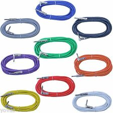9rainbow colors Right Angle to Straight 1/4 guitar pedal patch cable 6 ft cord