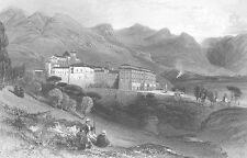 Benedictine abbey Convent SAN MARTINO DELLE SCALE ~ Old 1841 Art Print Engraving