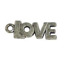 10 Metall Anhänger LOVE Silber 20mm Metallperlen Schmuck für Halskette F161