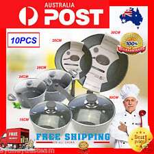 Non Stick Frypan Set Kitchen Cooking grey Stone Frying Pan Ceramic Fry Home Chef