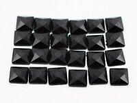 500 Jet Black Acrylic Flatback Faceted Square Rhinestone Gems 6X6mm No Hole