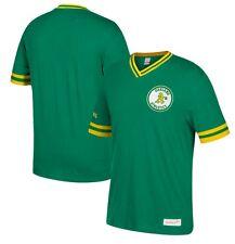 Mitchell & Ness MLB Oakland Athletics Green Overtime Win Vintage V-Neck T Shirt