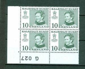 Greenland.1 MNH 4-Plate Block  1973. # G 027  10 Ore  Queen.  Engraver Cz Slania