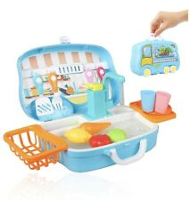Play Kitchen Sink Toy Running Water Pretend Role Play Automatic Cycle System Fun
