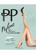 Ladies 1 Pair Pretty Polly Nylons 10 Denier Back Seam Tights Small/medium Sherry