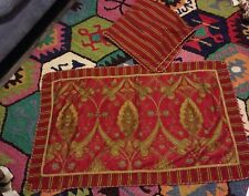 Charter Club Pillow Shams King & Euro Red Gold Paisley & Stripes