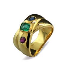 Ring Smaragd Saphir Rubin sehr fein 750-Gelbgold Bandring massiv Farbedelsteine