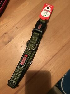 NEW WITH TAGS Kong Olive Green  LRG Comfort Padded Dog Collar Neck Size 18-26""