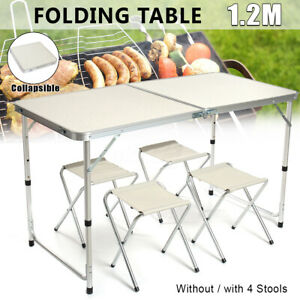 47'' Aluminum Folding Table Camping Picnic BBQ Party Garden 4 Folding Stools