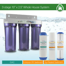 """Whole House Water Filter 2.5"""" x 10"""" Three Stage Filtration System 3/4"""" Inlet"""