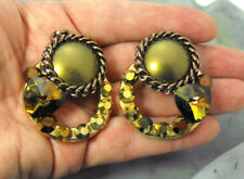 Boarder Clip Back Large Style Earrings Gold Rhinestone 1970's Era Chain Link