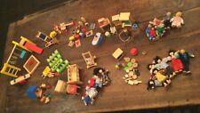 Large lot of PlanToys dollhouse furniture, accessories, doll families