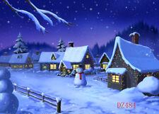 Snowy Christmas Village Vinyl Backdrop Photography Prop Background 7x5FT DZ484