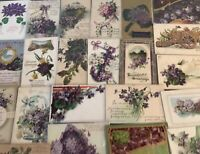 Lot of 25 Pretty *Purple~Violets Flowers~Antique~Floral Greetings Postcards-a930