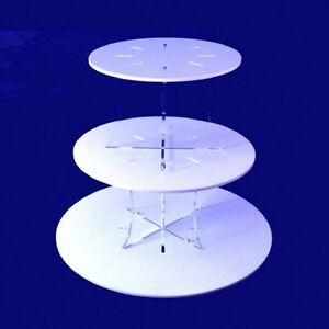 Three Tier Classic Round Cake Stand - White or Yellow with Clear Plain Pillars