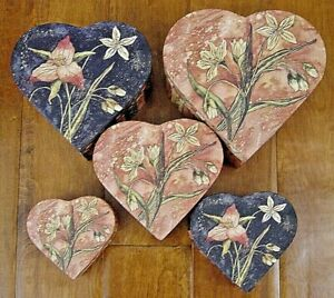 NEW Bob's Boxes (Romance In Blooms) 5 Piece Heart Shape Gift Nesting Boxes