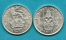 More details for 1944 english & scottish shilling coins. 2 x king george vi 1/-. lovely condition