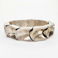 Vintage Taxco Mexico Sterling Silver 925 Heavy Chunky Bangle Bracelet with Clasp